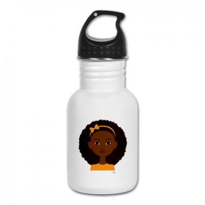 little sister in orange water bottle