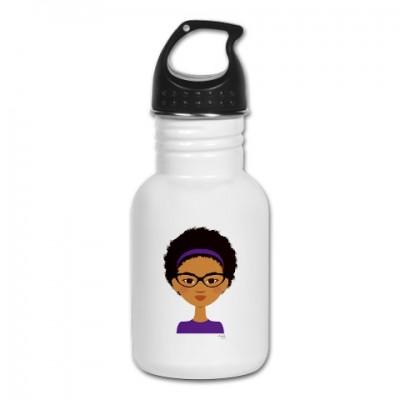 little sister in purple water bottle