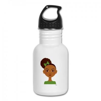 little sister in green water bottle