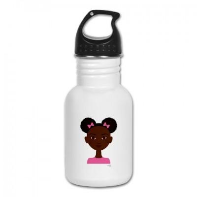 little sister in pink water bottle