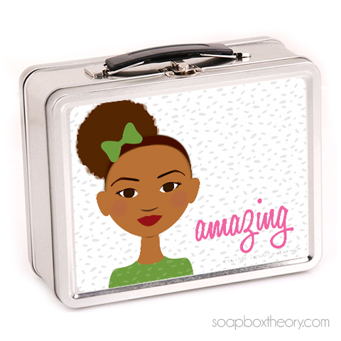 little sister in green lunch box