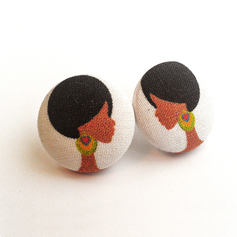 Finely Feathered Button Earrings