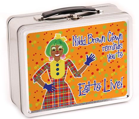 nikki brown clown lunch box